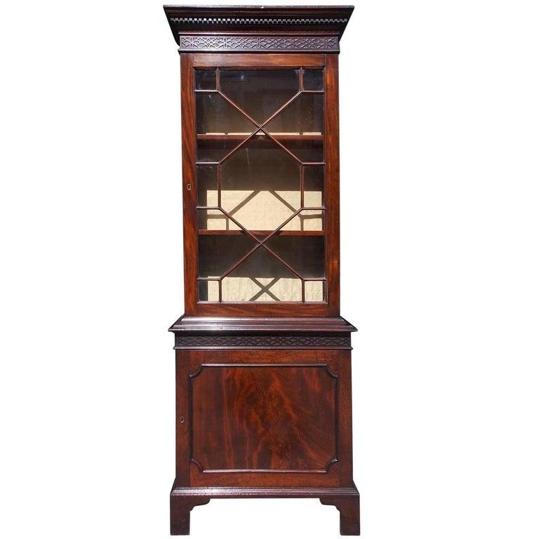 English Mahogany Chippendale Style Diminutive Glass Bookcase, Circa 1870