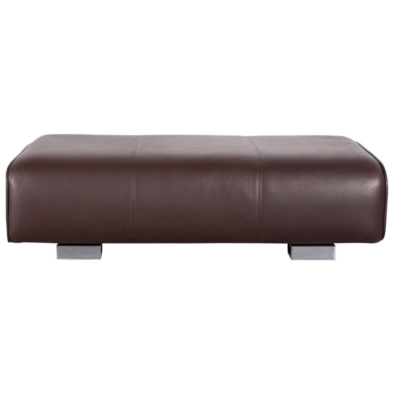 Rolf Benz 6300 Leather Foot-Stool Brown Bench