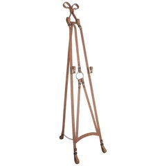Faux Leather Wrought Iron Easel Style Jacques Adnet, 1950