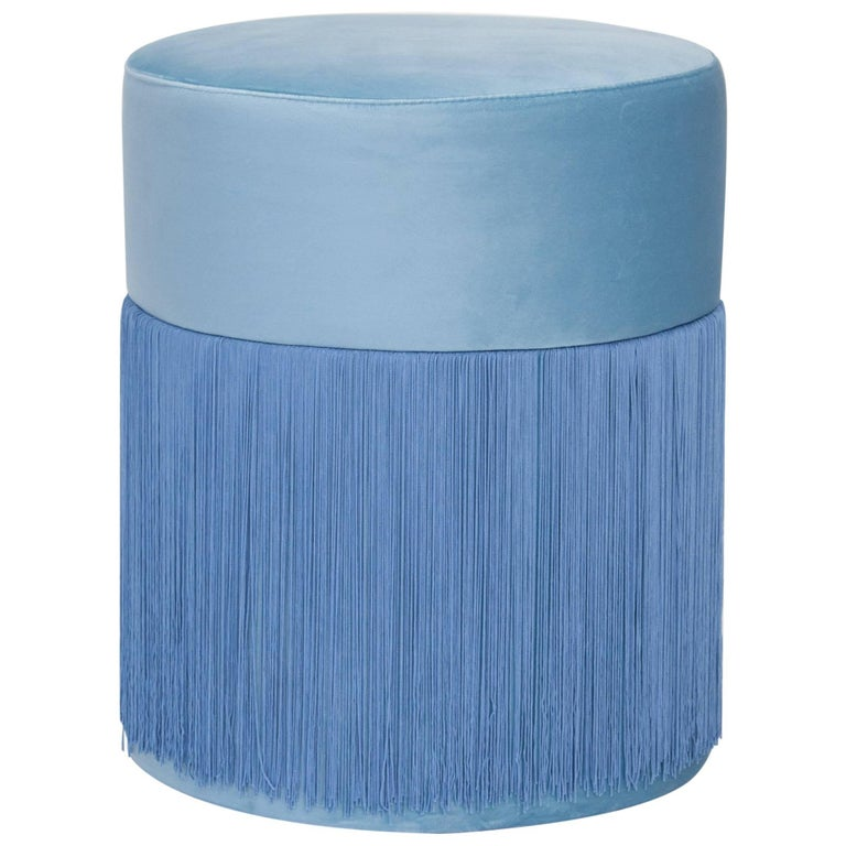 Pouf Pill Blue in Velvet Upholstery with Fringes For Sale