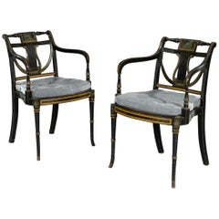 Pair of 18th Century George III Sheraton Period Painted Armchairs
