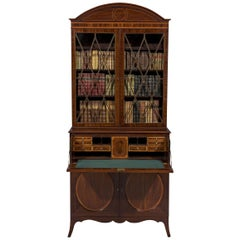 George III 18th Century Period Mahogany and Satinwood Inlaid Secretaire Bookcase