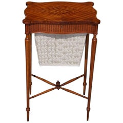 English Regency Satinwood Outset Corner Hinged Sewing Stand, Circa 1800