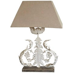 Painted Iron Foliage Table Lamp with Linen Shade, 1970s