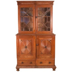 British Colonial Teak Wood China Cabinet Hutch