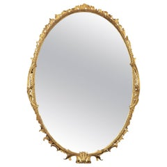 18th Century George III Period Carved Oval-Shaped Giltwood Mirror