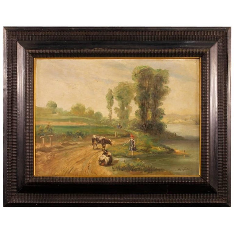 French Signed Bucolic Landscape Painting Oil on Canvas from 20th Century