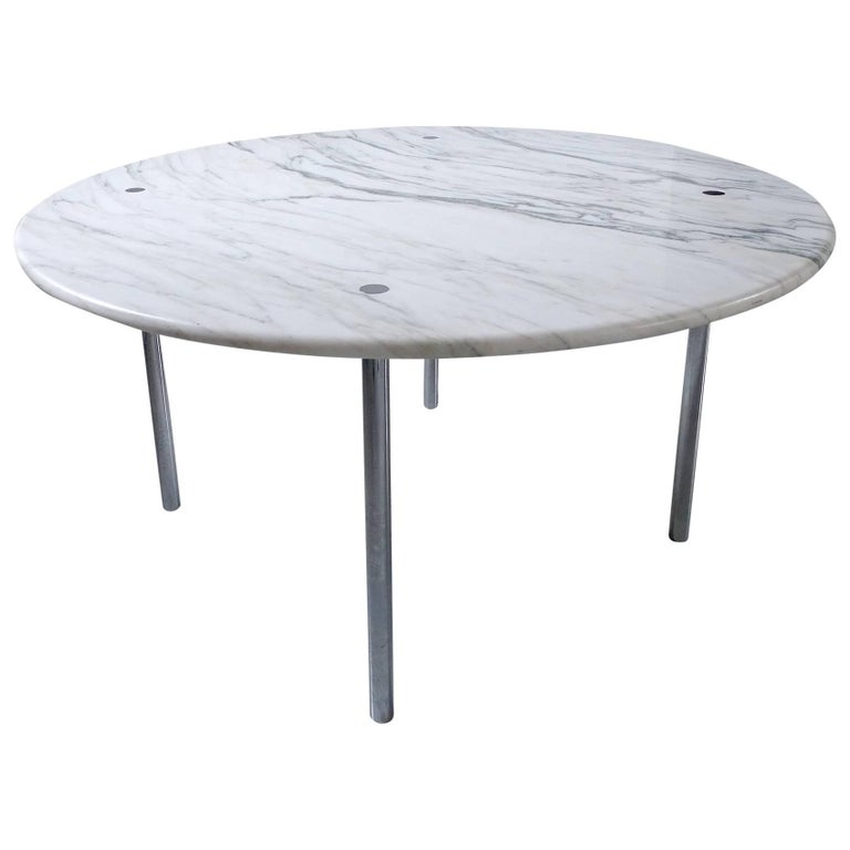Large Estelle & Erwin Laverne Carrara Marble Dining Table, USA, 1950s