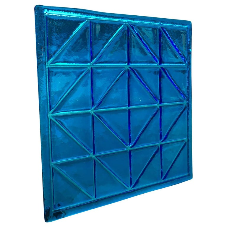 Eight Large Blue Midcentury Square Vintage Murano Glass Panels