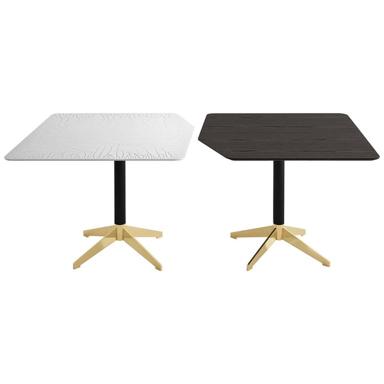 Zen Coffee or Breakfast Table in Ash or Glass with Brass Metal Details