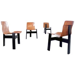 Angelo Mangiarotti Tre Three Dining Chairs for Skipper, Italy, 1978