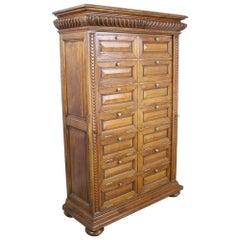 Antique Oak Cabinet with Side Locks and Original Keys
