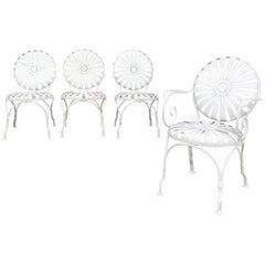 Art Deco Francois Carré Wrought Iron Sunburst Outdoor Patio Chair Set