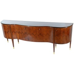 Paolo Buffa Midcentury Curved Sideboard Bronze Feet Glass Top, 1948