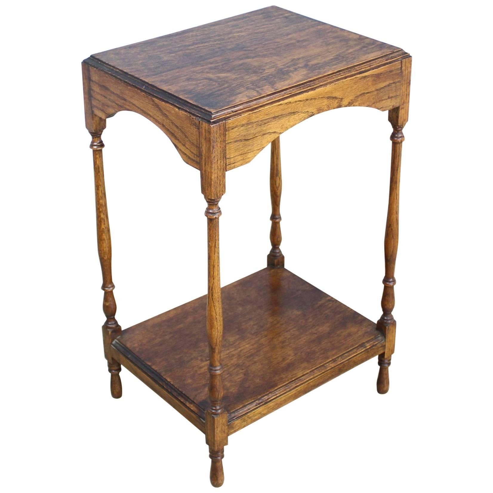 Small Antique Oak Side Table For Sale