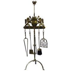 Magnificent Dutch Polished Brass Fireplace Tool Set