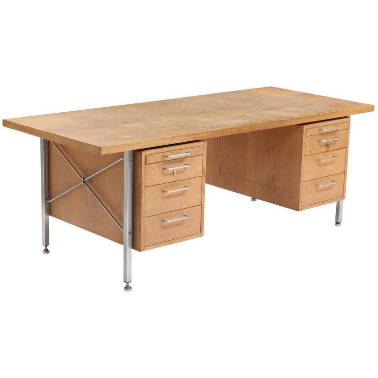 Hans Wegner Oak and Steel Desk Made by Johannes Hansen or Plan Mobler