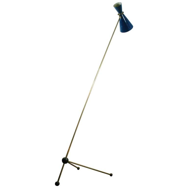 Italian Midcentury Blue Diabolo Brass Floor Lamp in the Style of Stilnovo