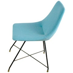 Light Blue Iron and Brass Aster Dinner Chair by Augusto Bozzi for Saporiti