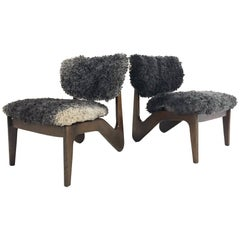 Adrian Pearsall Style Sculptural Chairs Restored in Gotland Sheepskin, Pair