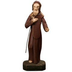 Antique Spanish Painted Wood Sculpture of St. Francis of Assisi Spain