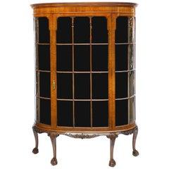 Queen Anne Style Walnut Display Cabinet