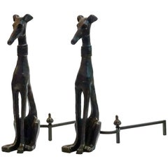 Pair of Bronze Dog with Collar Andirons