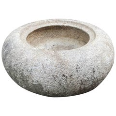 "Big Japanese Antique Round Smooth ""Donut"" Stone Water Basin Planter Tsukubai"