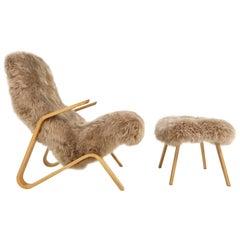 Eero Saarinen for Knoll Grasshopper Chair and Ottoman Restored in Sheepskin