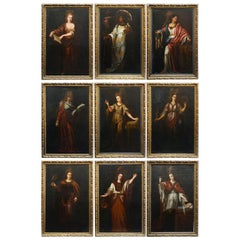 Set of Nine, Large Early 18th Century Oil on Canvas Paintings of Various Sibyls