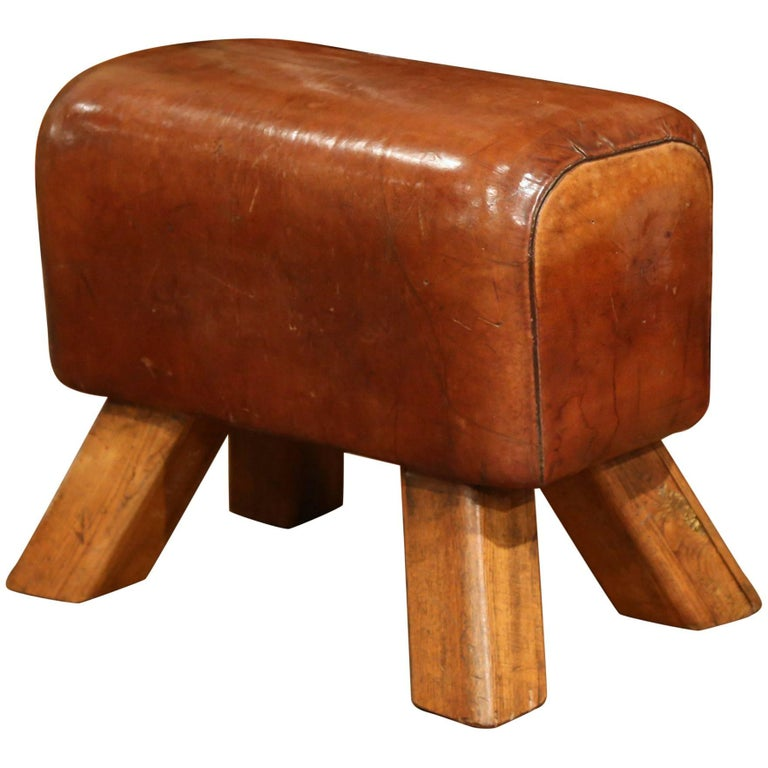Early 20th Century Czech Patinated Brown Leather Pommel Horse Bench Stool