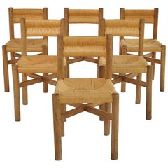 Charlotte Perriand Set of Six Meribel Chairs, circa 1950