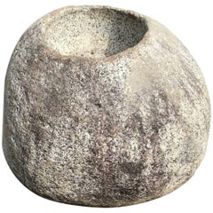 "Precious Japanese Antique ""Natural Boulder"" Stone Water Basin Planter, Unique"