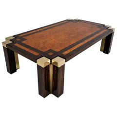 Jean Claude Mahey Coffee Table, Burl Walnut, Coromandel & Brass Paolo Barracheli