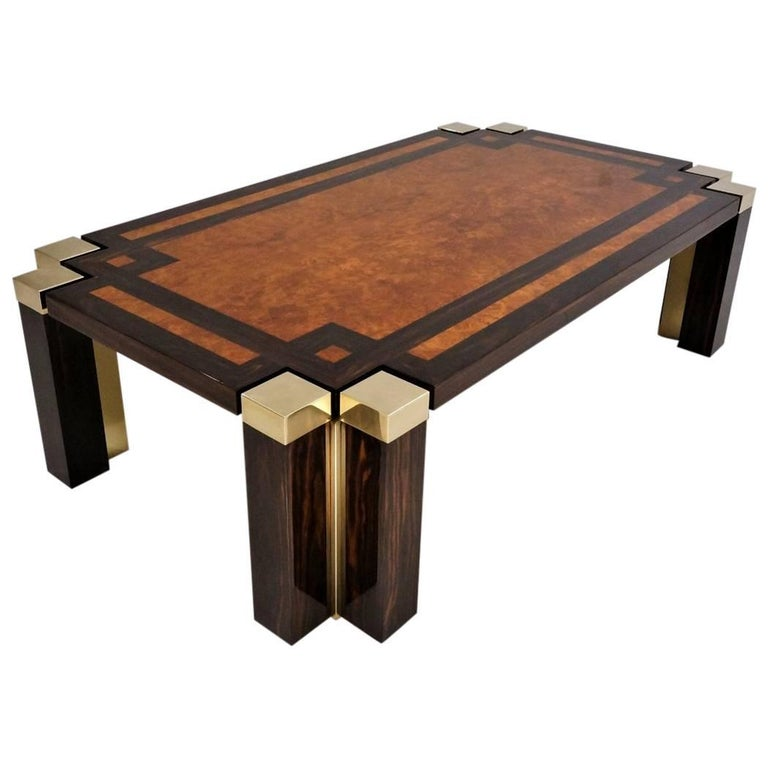 Jean Claude Dresse Brass Coffee Table With Agate Stones