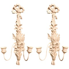 Pair of Hollywood Regency Style Two-Arm Candlestick Sconces