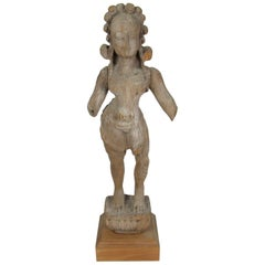 17th-18th Century Carved Wood Figure of a Female Hindu Deity