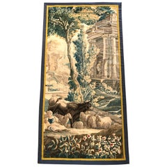 18th Century French Aubusson Tapestry with Cow Sheep Shepherd and Roman Palace