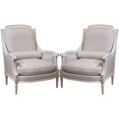 Pair of 19th Century French Louis XVI Carved Painted Armchairs with Grey Fabric