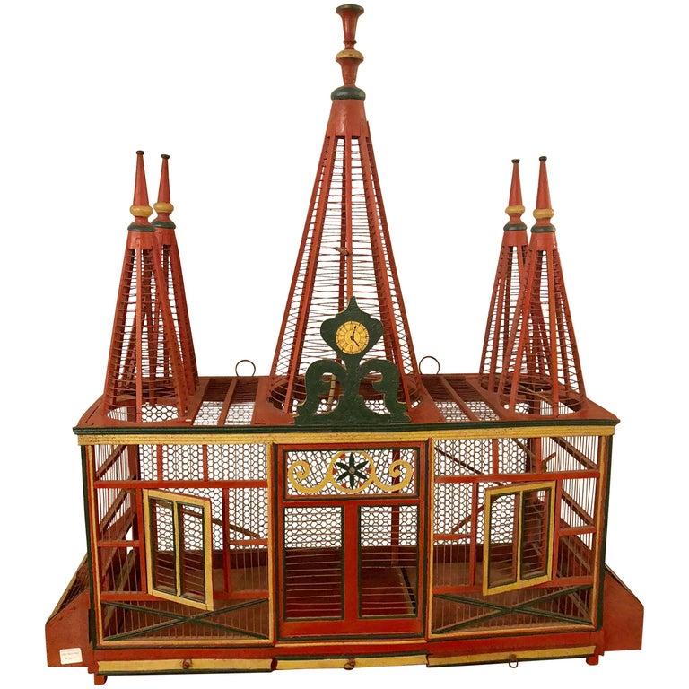 Americana Folk Art Circus Tent Style Original Painted Bird Cage