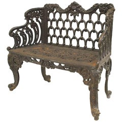 English Victorian Black Painted Cast Iron Loveseat