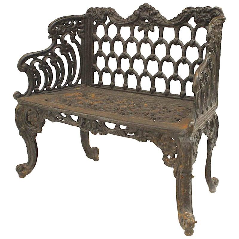 English Victorian Black Painted Cast Iron Loveseat