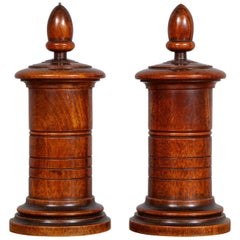 Pair of Mahogany Treen Lidded Containers
