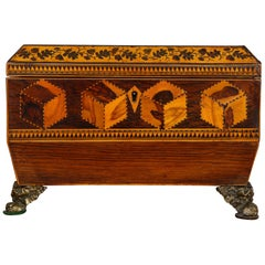 Profusely Inlaid Tunbridge Regency Tea Caddy