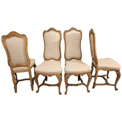Set of Four Dining / Side Chairs in Linen