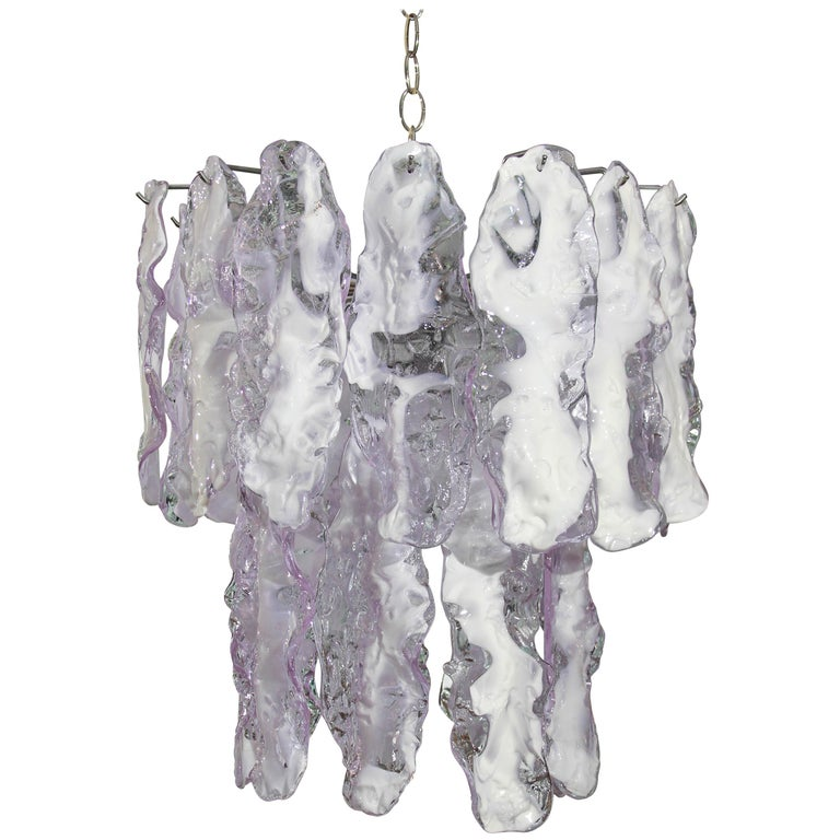 Italian Glass Chandelier in Lavender For Sale