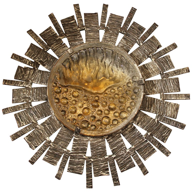 Brutalist Italian Starburst Sculpture / Light Fixture