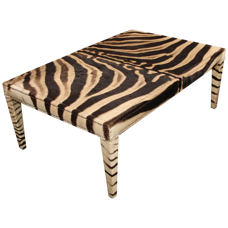 Vintage Zebra Hide Coffee or Cocktail Table For Sale