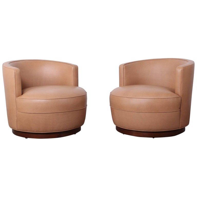 Early Pair of Dunbar Swivel Chairs by Edward Wormley