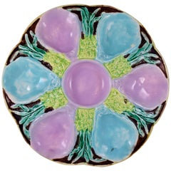S. Fielding & Co English Majolica Turquoise and Pink Seaweed Oyster Plate